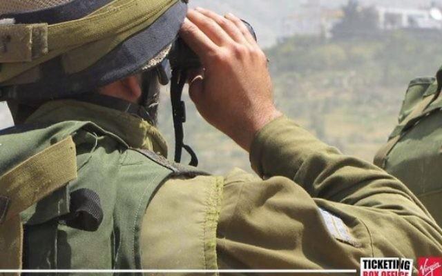 Photographie d'un tweet supprimé par Virgin Ticketing Box Office montrant un soldat israélien. (Crédit : Twitter)