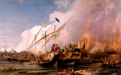 La bataille de Preveza par Ohannes Umed Behzad (1866) (Crédit : autorisation)