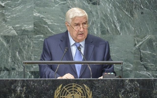 Walid Al-Moualem, vice Premier ministre et ministre des Affaires étrangères de Syrie, devant la 71e Assemblée générale des Nations Unies, à New York, le 24 septembre 2016. (Crédit: AFP/Kena Betancur)
