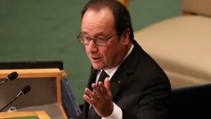 Le président français François Hollande s'adresse à la 71e Assemblée générale des Nations unies à New York, le 20 septembre 2016. (Crédit : John Moore/Getty Images/AFP)