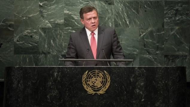 Le roi de Jordanie Abdallah II s'exprime devant la 71e Assemblée générale des Nations unies; à New York, le 20 septembre 2016. (Crédit : Drew Angerer/Getty Images/AFP)