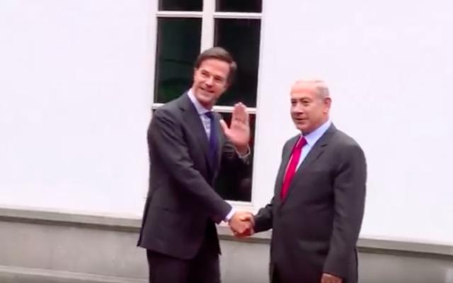 Rencontre entre le Premier ministre israélien, Benjamin Netanyahu et le Premier ministre néerlandais, Mark Rutte, le 6 septembre 2016 (Crédit : Capture d'écran YouTube)