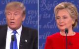 Les candidats à la présidentielle américaine Donald Trump et Hillary Clinton pendant le premier débat de la campagne, à New York, le 26 septembre 2016. (Crédit : capture d'écran YouTube/RBC NETWORK BROADCASTING)