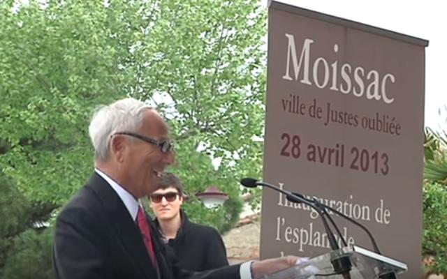 Cérémonie à Moissac, Discours de Jean-Raphaël Hirsch (Crédit : YouTube/Capture d'écran)