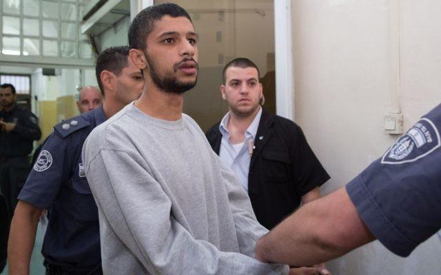 Ali Nimr est présenté à la cour de Jérusalem, le 8 septembre 2016. (Crédit : Flash90)