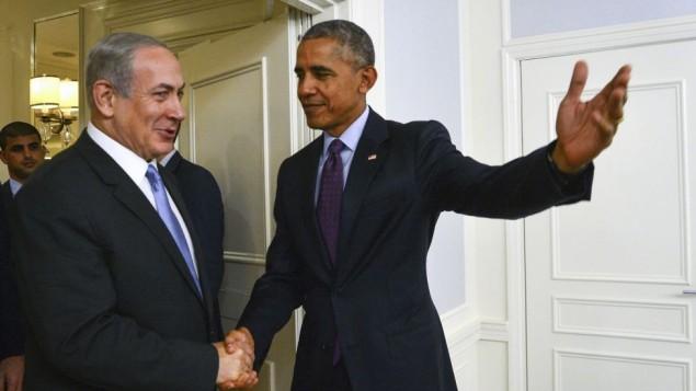 Le Premier ministre Benjamin Netanyahu et le président américain Barack Obama à New York, le 21 septembre 2016. (Crédit : Kobi Gideon/GPO)