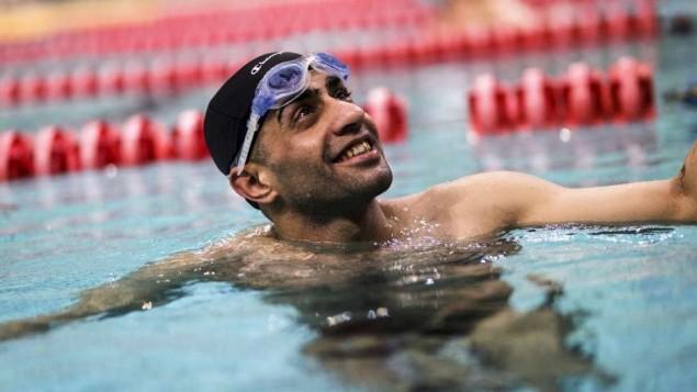 Ibrahim al-Hussein a perdu la partie inférieure de sa jambe pendant une explosion près de sa ville natale de Deir ez-Zor, en Syrie. Il concoure à présent aux Jeux paralympiques de Rio après avoir trouvé refuge en Grèce. (Crédit : autorisation)
