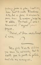 Lettre manuscrite d'Emile Zola à Ernest Alfred Vizetelly, écrite pendant son exil à Londres. (Crédit : maison de vente aux enchères Kedem)