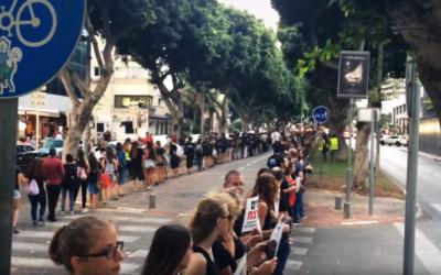 Des centaines de manifestants se sont rassemblés, le 8 septembre à Tel Aviv, pour protester contre la maltraitance animale (Crédits : YouTube / Times of Israel)