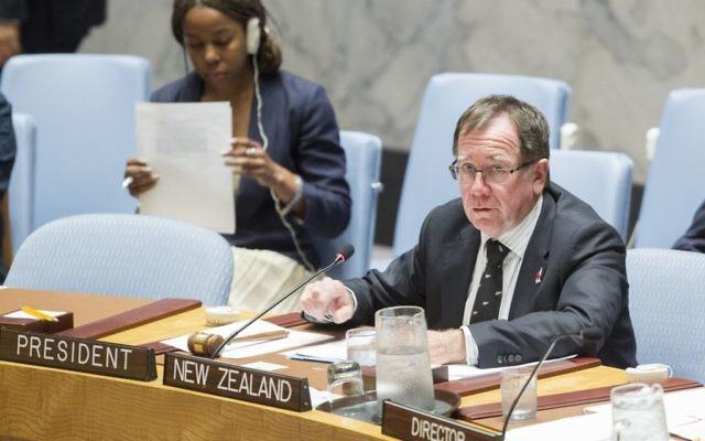 Murray McCully préside une réunion du Conseil de Sécurité de l'ONU, le 14 septembre 2015. (Crédits : ONU / JC McIlwaine)