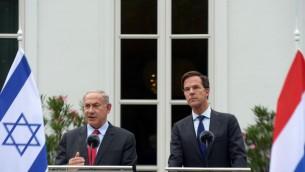 Rencontre entre le Premier ministre israélien, Benjamin Netanyahu et le Premier ministre néerlandais, Mark Rutte, le 6 septembre 2016 (Crédit : Amos Ben-Gershom/GPO)