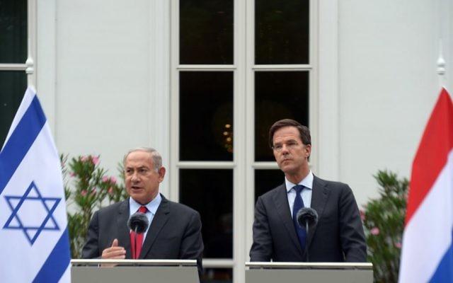 Rencontre entre le Premier ministre Benjamin Netanyahu et le Premier ministre néerlandais, Mark Rutte, aux Pays-Bas, le 6 septembre 2016. (Crédit : Amos Ben-Gershom/GPO)