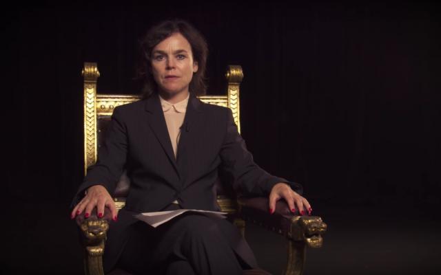 Pia Maria Rouler dans une vidéo mise en scène pour boycotter une coopération avec le théâtre national de Habima, 22 Septembre 2016. (Crédit : capture d'écran YouTube)