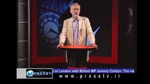 Jeremy Corbyn, président du Labour, présente un programme sur Press TV, une chaîne de télévision iranienne, en 2010. (Crédit : capture d'écran YouTube)