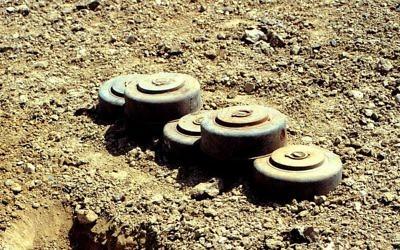 Des mines antichars fabriqués par les Etats-Unis  (Crédit : Wikipedia Commons / Maître de 1re classe Ronald L. Heppner, US Navy)