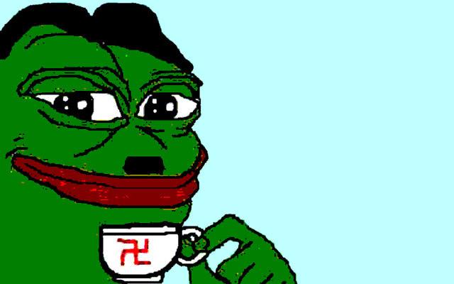 Pepe la Grenouille, un mème internet, détourné pour devenir un symbole de la droite alternative. (Crédit : Twitter via JTA)