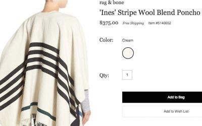 Le poncho 'Ines' de la marque rag & bone ressemble à un talith, un châle de prière juif. (Crédit : capture d'écran Nordstrom)