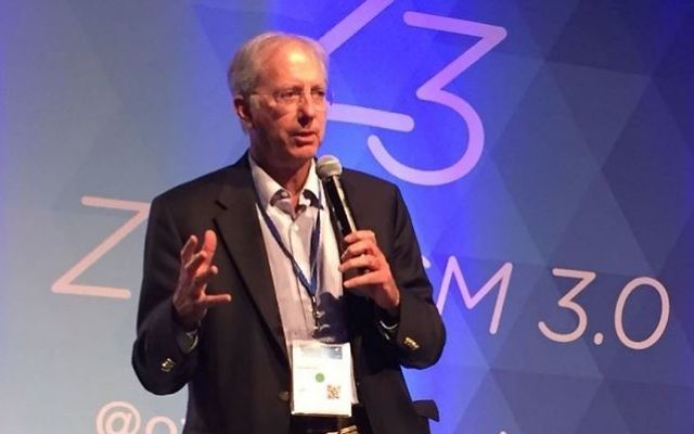 Dennis Ross à la conférence Zionism 3.0 à Palo Alto, Californie, le 18 septembre 2016. (Crédit : Michelle Shabtai)
