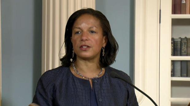 Susan Rice, conseillère à la sécurité nationale des Etats-Unis, pendant la signature de l'accord d'aide militaire israélo-américain au département d'Etat, le 14 septembre 2016. (Crédit : capture d'écran de la diffusion en direct du département d'Etat)