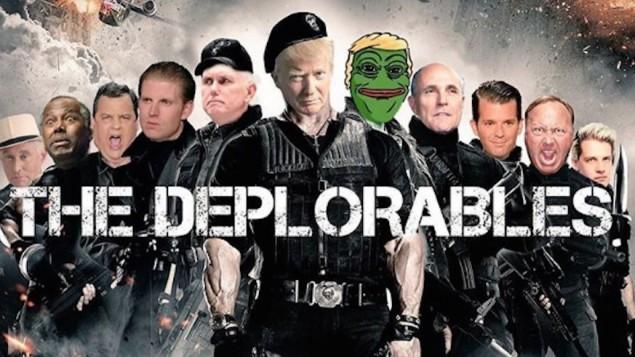 Parodie d'une affiche de film publiée sur Instagram le 11 septembre 2016 par Donald Trump Jr et présentant Trump Jr (3° à droite), son père, le candidat républicain Donald Trump, et Pepe la grenouille, un symbole adopté par les suprématistes blancs. (Crédit :  capture d'écran Instagram via JTA)