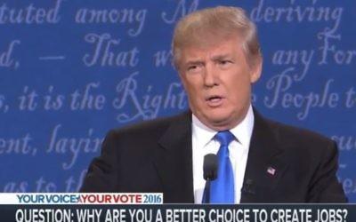 Le candidat républicain à la présidentielle américaine Donald Trump pendant le premier débat de la campagne, à New York, le 26 septembre 2016. (Crédit : capture d'écran YouTube/RBC NETWORK BROADCASTING)