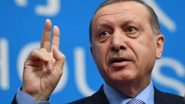 Le président Recep Tayyip Erdogan lors d'une conférence de presse après la clôture du Sommet des dirigeants du G20 à Hangzhou le 5 septembre 2016 (Crédit : AFP PHOTO / GREG BAKER).