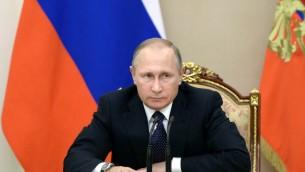 Le président russe Vladimir Poutine présidant une réunion sur l'amélioration des relations budgétaires, au Kremlin à Moscou le 26 septembre 2016 (Crédit : AFP PHOTO / SPUTNIK / Aleksey Nikolsky)