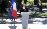 Le président français François Hollande pendant l'hommage national aux victimes de l'attentat de Nice, le 15 octobre 2016. (Crédit : AFP/Valery Hache)