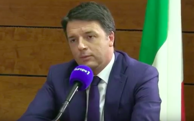 Matteo Renzi, Premier ministre italien. (Crédit : capture d'écran YouTube)