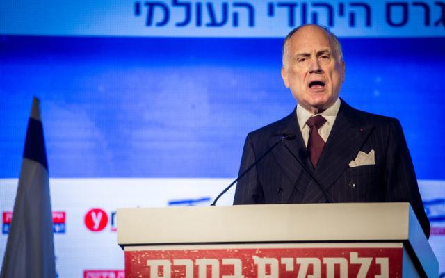 Ronald Lauder, président du Congrès juif mondial, le 28 mars 2016. (Crédit : Hadas Parush/Flash90)