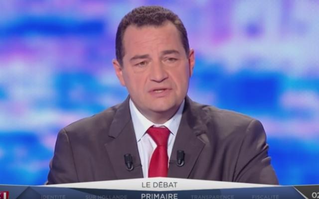 Jean-Frédéric Poisson, président du Parti chrétien-démocrate et candidat aux primaires de la droite et du centre, lors du débat télévisé des primaires, le 13 octobre 2016. (Crédits : capture d'écran YouTube / LCI)