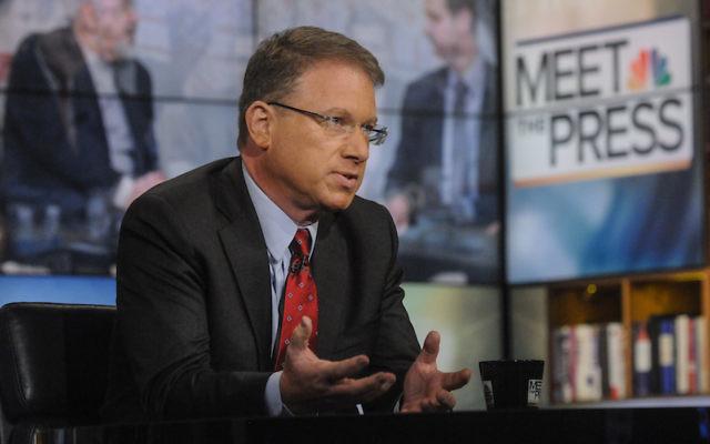 """Jeffrey Goldberg, du journal The Atlantic, apparaît dans """"Meet the Press"""" à Washington, le 13 juillet 2014. (Crédits : William B. Plowman/NBC/NBC NewsWire via Getty Images via JTA)"""
