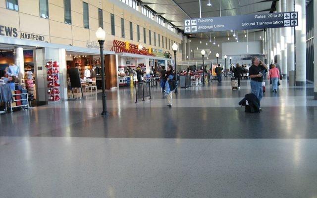L'aéroport international de Bradley, à Hartford, Connecticut. (Crédit : Wikimedia Commons)