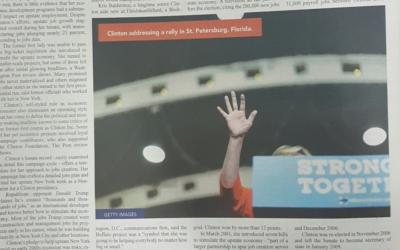 L'image tronquée d'Hillary Clinton dans un journal haredi (Crédit : Onlysimchas.org/JTA)
