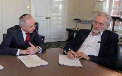 Jonathan Arkush et Jeremy Corbyn (Crédit : autorisation)