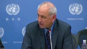 Michael Lynk, rapporteur spécial des Nations unies pour la situation des droits de l'Homme dans les territoires palestiniens, le 28 octobre 2016. (Crédit : autorisation)