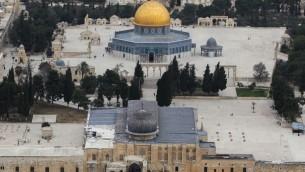 Vue aérienne sur le mont du Temple (Crédit : Nati Shoahat/Flash 90)
