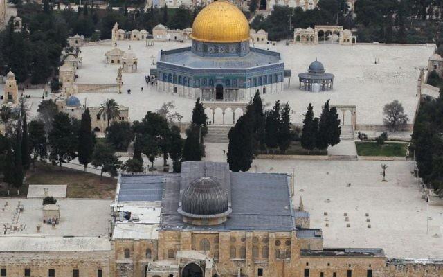 Vue aérienne du mont du Temple. (Crédit : Nati Shoahat/Flash90)
