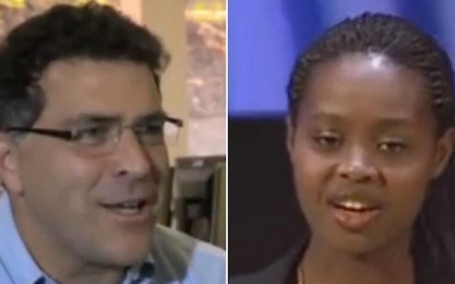 Elliot Schrage, vice-président de Facebook (à gauche), et Clemantine Wamariya, militante des droits de l'Homme qui a survécu au génocide rwandais. (Crédit : captures d'écran YouTube)