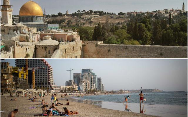 Jérusalem, en haut, et Tel-Aviv en bas (Crédits : Jérusalem : Gil Cohen / AFP / Getty Images; Tel Aviv : Miriam Alster / Flash90)