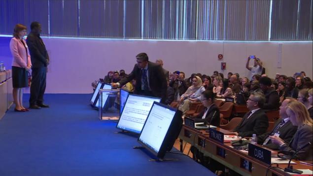 L'ambassadeur libanais auprès de l'UNESCO vote une résolution du Comité du patrimoine mondial qui ignore les relations des juifs et des chrétiens à la Vieille Ville de Jérusalem et à ses lieux saints, à Paris, le 26 octobre 2016. (Crédit : capture d'écran du site internet de l'UNESCO)