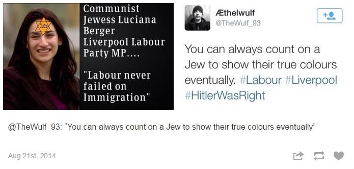 Un tweet antisémite contre la députée britannique Luciana Berger. (Crédit : capture d'écran Tumblr/Everydayantisemitism)
