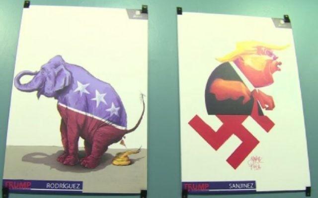 Exemples d'illustrations issues de l'exposition anti-Trump au Mexique (Crédit : capture d'écran AFP)