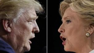 Le candidat à la présidentielle républicain, Donald Trump, à Cleveland, Ohio, le 22 octobre 2016, et la candidate démocrate Hillary Clinton à Las Vegas, au Nevada, le 19 octobre 2016. (Crédits : AFP / Jay LaPrete, AFP / Saul Loeb)