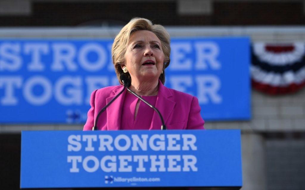 La candidate présidentielle démocrate des États-Unis, Hillary Clinton, à un rassemblement de campagne à Winterville, en Caroline du Nord, le 3 novembre 2016. (Crédit : AFP / Jewel Samad)