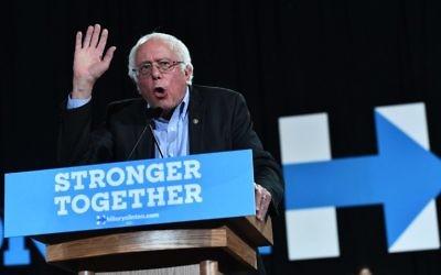 Bernie Sanders lors d'un rassemblement en faveur de la candidate aux élections présidentielles Hillary Clinton à Raleigh, en Caroline du Nord, le 3 novembre 2016 (Crédit : AFP / Jewel SAMAD)