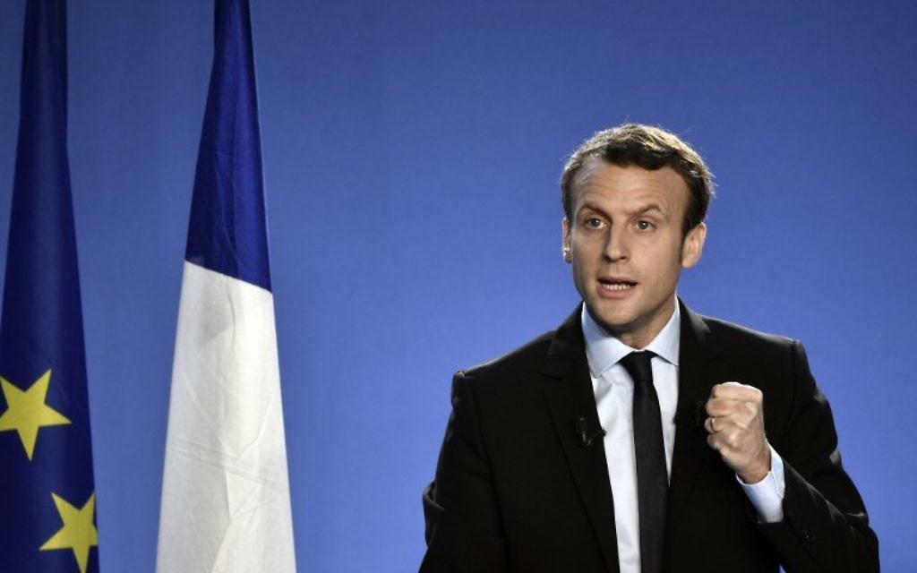 Emmanuel Macron, ancien ministre français de l'Economie, annonce sa candidature à l'élection présidentielle à Bobigny, le 16 novembre 2016. (Crédit : Philippe Lopez/AFP)