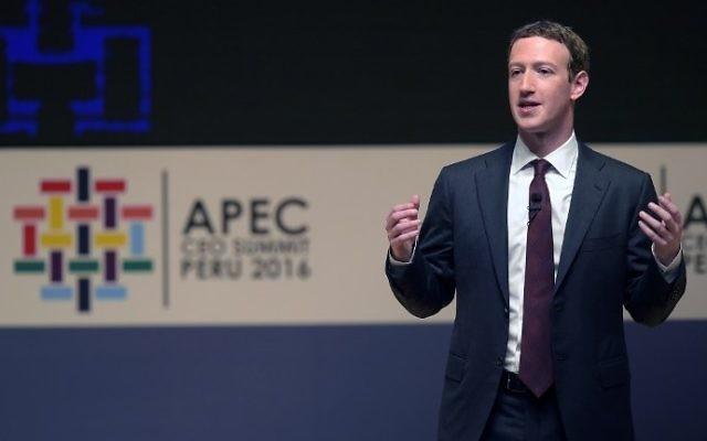 Mark Zuckerberg, PDG de Facebook, pendant le sommet de l'APEC, la Coopération économique Asie-Pacifique, à Lima, au Pérou, le 19 novembre 2016. (Crédit : Rodrigo Buendia/AFP)