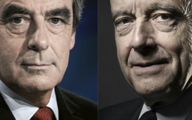 François Fillon (à gauche) et Alain Juppé (à droite), les deux candidats au deuxième tour de la primaire de la droite et du centre pour la présidentielle française de 2017. (Crédit : AFP/Kenzo Tribouillard - Joël Saget)