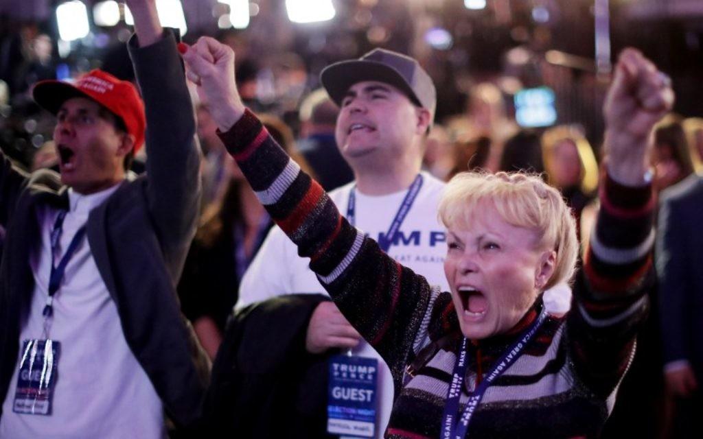 Carol Minor explose pendant la soirée électorale du candidat républicain Donald Trump à New York, le 8 novembre 2016. (Crédit : AFP/Chip Somodevilla/Getty Images)